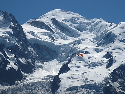 Mont Blanc, the highest summit in Western Europe, marks the border with Italy. Mont-Blanc from Planpraz station.jpg