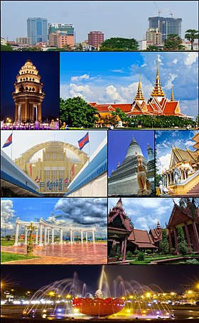 From Top: Skyline of Phnom Penh, Independence Monument, National Assembly, Central Market, Wat Phnom, Royal Palace, Koh Pich Park, National Museum and Hun Sen Park