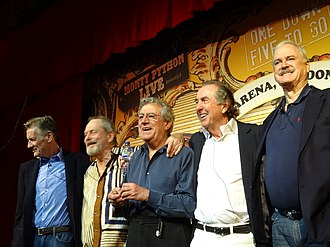 Gilliam (second from left) with other members of Monty Python at the O2 Arena, London, in July 2014 Monty Python O2 Arena.jpg