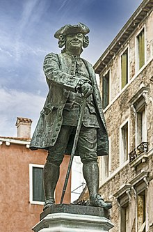 Monument to Goldoni in Venice (sculpted by Antonio Dal Zotto) (Source: Wikimedia)