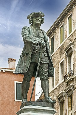 Carlo Goldoni, the most notable name in Italian theatre. Monument to Carlo Goldoni (Venice).jpg