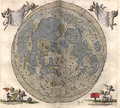 On an open folio page is a carefully drawn disk of the full moon. In the upper corners of the page are waving banners held aloft by pairs of winged cherubs. In the lower left page corner a cherub assists another to measure distances with a pair of compasses; in the lower right corner a cherub views the main map through a handheld telescope, whereas another, kneeling, peers at the map from over a low cloth-draped table.