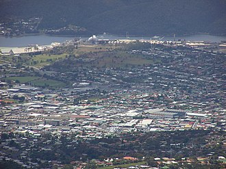 Lutana, Tasmania - Lutana is behind Moonah in this view from the west from Lost World.