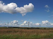 Moorland and a wind turbine farm from Hedley Hall Lane, Tow Law - geograph.org.uk - 1409488.jpg
