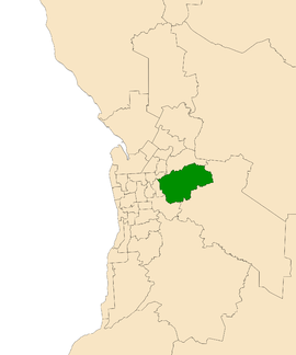 Map of Adelaide, South Australia with electoral district of Morialta highlighted