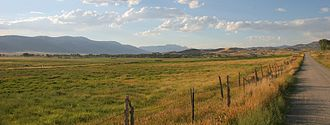 Moroni, Utah - Panoramic view of Moroni, Utah from the southeast