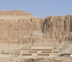 Mortuary Temple of Hatshepsut - Hatshepsut's Temple, showing the height of the cliffs beyond