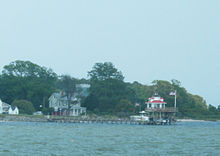 Lighthouse-shaped folly at the mouth of the Great Wicomico River, in Fleeton
