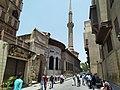 Muizz Street and minaret of Sulayman Agha al-Silahdar Mosque Cairo.jpg