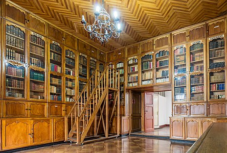 View of the Archiepiscopal library, located in the museum inside the Metropolitan Cathedral of Quito, located in the Historic Center of Quito, capital of Ecuador.