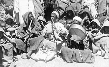 A group of Jilala musicians in 1900 Musicians Jilala music in Morocco, 1900.png
