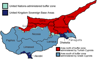 History of Cyprus since 1878 - After the invasion Cyprus was separated into a northern area and a southern area, divided by a buffer zone.