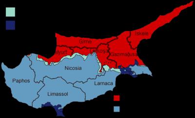 案内、 検索 キプロス島内の北キプロス(赤色部)の行政区画 北キプロスの行政区画は、5つの地区(