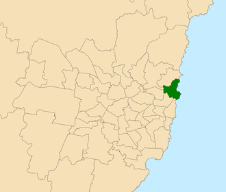 Electoral district of Manly - Location within Sydney