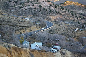 Nevada State Route 342 - Hairpin curve and steep grades between Gold Hill and Virginia City