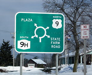 New York State Route 9H - Signage for NY 9H's northern terminus at US 9 in Kinderhook