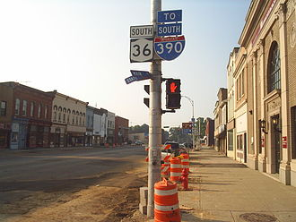 New York State Route 36 - NY 408 joins NY 36 for one block in Mount Morris, beginning in the foreground at State Street and ending in the background at Chapel Street.