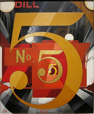 Pop art - Charles Demuth, I Saw the Figure 5 in Gold 1928,  collection of the Metropolitan Museum of Art, New York City