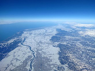 Niigata Prefecture - Niigata Prefecture in winter from the sky