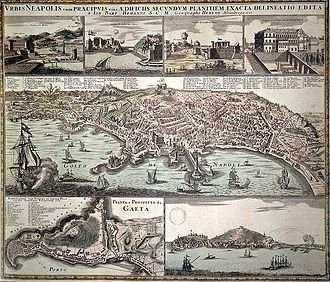 History of Naples - A plan of the city of Naples from the 18th-century