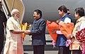 Narendra Modi being welcomed by the Governor of Maharashtra, Shri C. Vidyasagar Rao, the Union Minister for Road Transport & Highways and Shipping, Shri Nitin Gadkari and the Chief Minister of Maharashtra.jpg