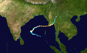 The path of Cyclone Nargis