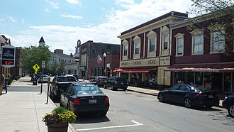 Maynard, Massachusetts - Historic Downtown Maynard on Nason Street with local shops and businesses