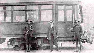 Streetcar strikes in the United States - National Guard soldiers guarding a Kansas City streetcar during a 1918 motorman and conductor strike