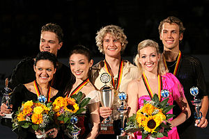 Alexandra Zaretsky - The Zaretskys with the other medalists at the 2009 Nebelhorn Trophy.