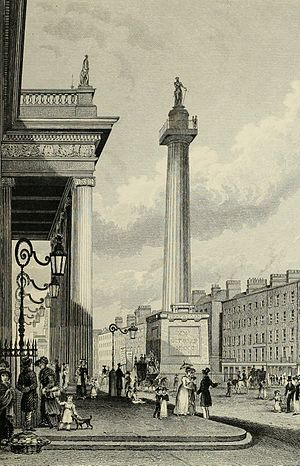 Francis Johnston (architect) - The GPO (left) and Nelson's Pillar in Dublin, ca 1830