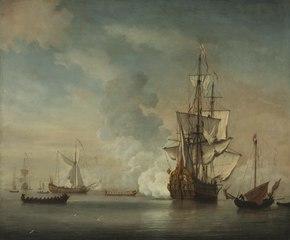 English Warship Firing a Salute, 1690