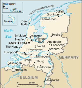 Outline of the Netherlands - An enlargeable basic map of the Netherlands, (Caribbean Netherlands inset)