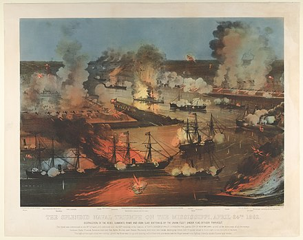 Capture of New Orleans, April 1862, colored lithograph of engraving New Orleans h76369k.jpg