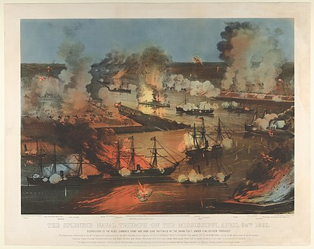 """The Splendid Naval Triumph on the Mississippi, April 24th, 1862"" (Currier and Ives lithograph) New Orleans h76369k.jpg"