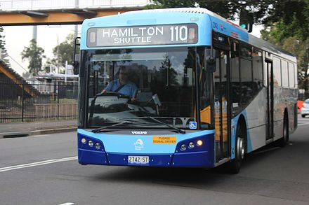 Newcastle Buses & Ferries Bustech bodied Volvo B7RLE operating the Hamilton shuttle route in 2016 Newcastle State Transit Bustech Volvo B7RLE bus.jpg