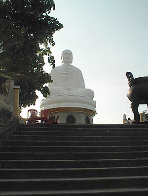 Buddhism in Vietnam - Hải Đức Buddha, the 30 ft tall statue built in 1964 at Long Sơn Pagoda in Nha Trang
