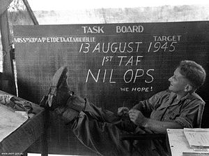 Australian First Tactical Air Force - No. 1 TAF Headquarters following the Japanese surrender; one further strike was flown after this picture was taken.