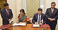 Nirmala Sitharaman and the Minister Trade and Industry, Jordan, Mr. Yarub Qudah signing the Minutes of 10th session of India-Jordan Trade Agreement, in New Delhi.jpg