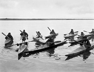 Noatak, Alaska - Inuit in kayaks, Noatak