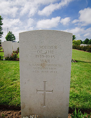 Missing in action - Grave of an unknown British Lance Corporal of the 50th Division, killed on D-day. Buried in Bayeux War Cemetery