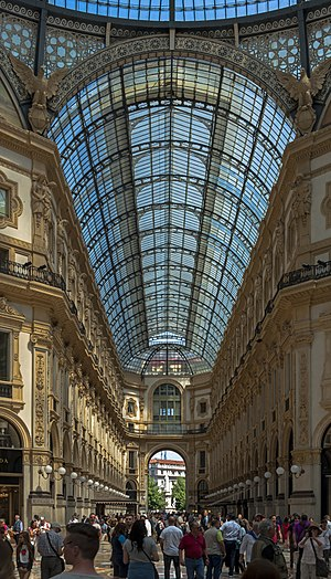 The inside of Galleria Vittorio Emanuelle II in Milan