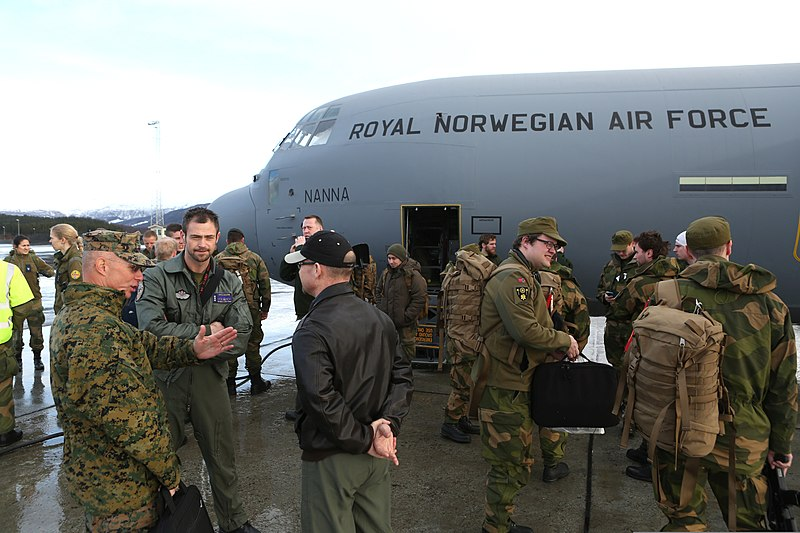 File:Norwegian and U.S. Service members stand next to a Royal Norwegian Air Force C-130J Super Hercules aircraft after arriving in Evenes, Norway, March 7, 2014, before the start of exercise Cold Response 14 140307-M-PK171-460.jpg