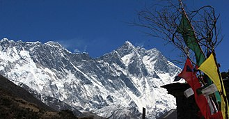 Lhotse - Nuptse Ridge, Everest, Lhotse and Lhotse Shar peaks