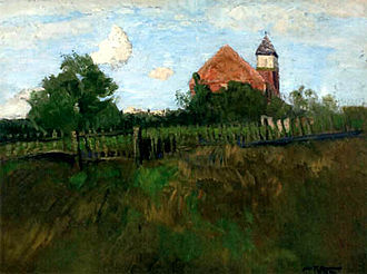 Zion Church (Worpswede) - Zion's Church as seen from southwest, painting by Fritz Overbeck, ca. 1900