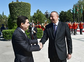 Gurbanguly Berdimuhamedow - Berdimuhamedow with President of Azerbaijan Ilham Aliyev.
