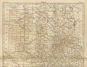 Oklahoma City - Map of Indian Territory (Oklahoma) 1889, showing Oklahoma as a train stop on a railroad line. Britannica 9th ed.