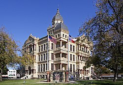 The historic Courthouse-on-the-Square Museum in Denton, burial site of John B. Denton, namesake of the county and city