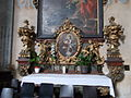Our Lady and St. John of Nepomuk R.C. church. Interior ID 3829. North nave. Altar 18th century. St. Anthony of Padua with baby Jesus. Above Saint Ignatius of Loyola & island of San Ciao- 2,János Ln.,Székesfehérvár.JPG