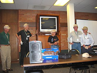 Barry Beyerstein - Skeptic's Toolbox regular Ben Baumgartner (far right) presents the faculty with Toolbox hats. From left Wallace Sampson, James Alcock, Ray Hyman and Barry Beyerstein.  August 2005