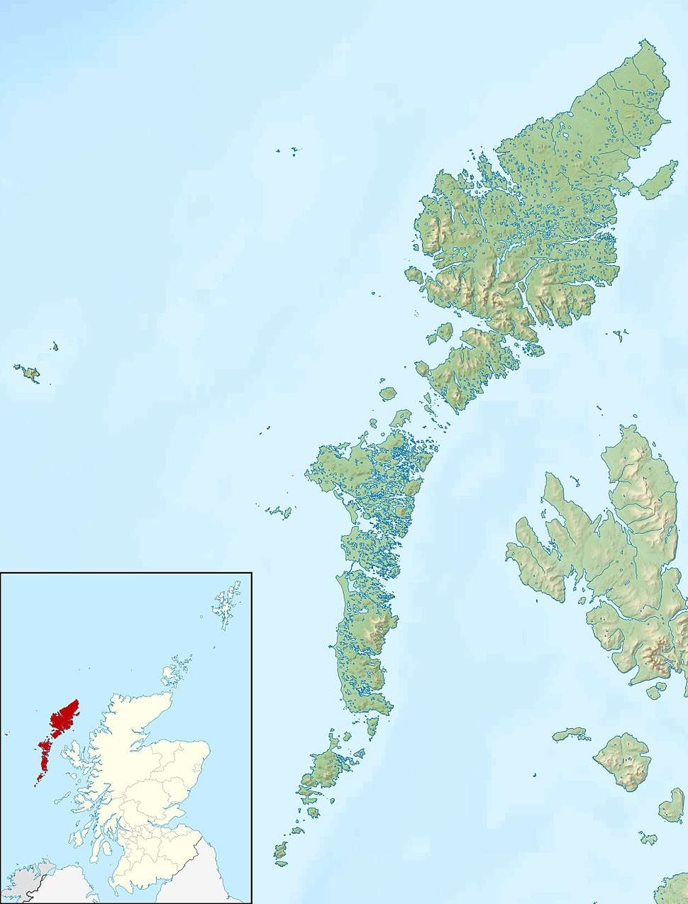 Outer Hebrides UK relief location map